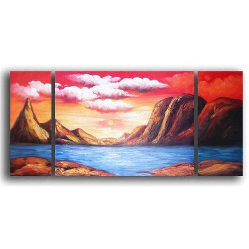 White Walls Ancient Lake 3 Piece Original Painting on Canvas Set