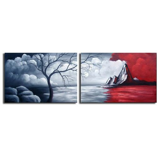 White Walls Mystic Mountain 2 Piece Original Painting on Canvas Set