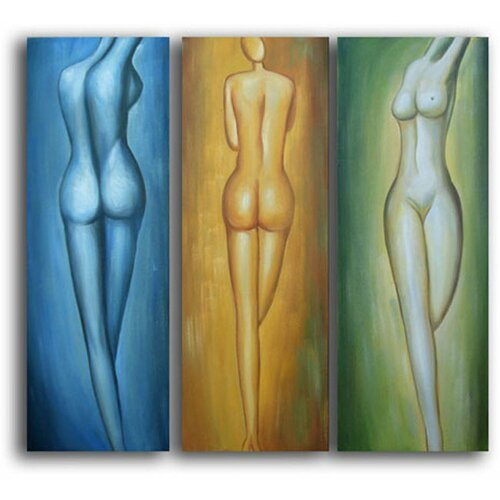 White Walls Female Figures 3 Piece Original Painting on Canvas Set