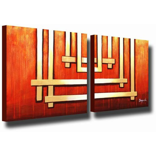 White Walls Silver Bars 2 Piece Original Painting on Canvas Set in Silver