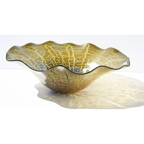 Hand Blown Cracked Decorative Dish in Green