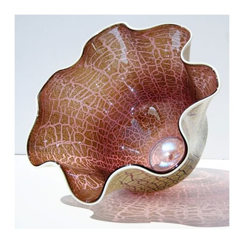 Hand Blown Cracked Glass Bowl