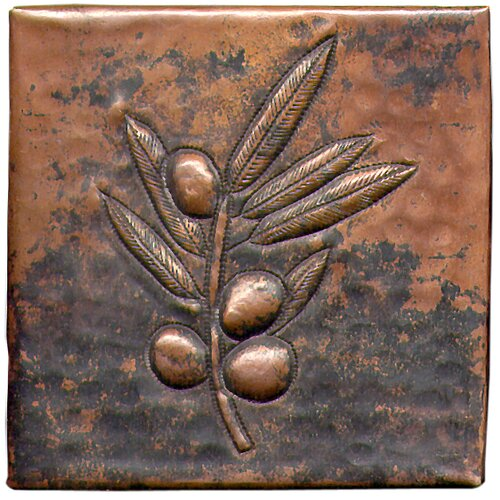"D'Vontz Berry Branch 4"" x 4"" Copper Tile in Dark Copper"