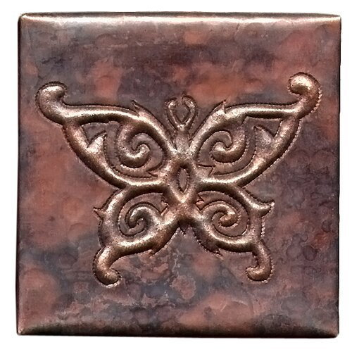 """D'Vontz Butterfly 4"""" x 4"""" Copper Tile in Dark Copper"""
