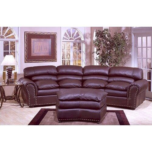 Omnia Furniture Williamsburg Leather Sofa