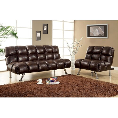 Enitial Lab Deliz Leather Vinyl Sleeper Sofa and Chair Set