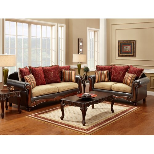 Enitial Lab Philip Polyester-Cotton and Leatherette Sofa Set