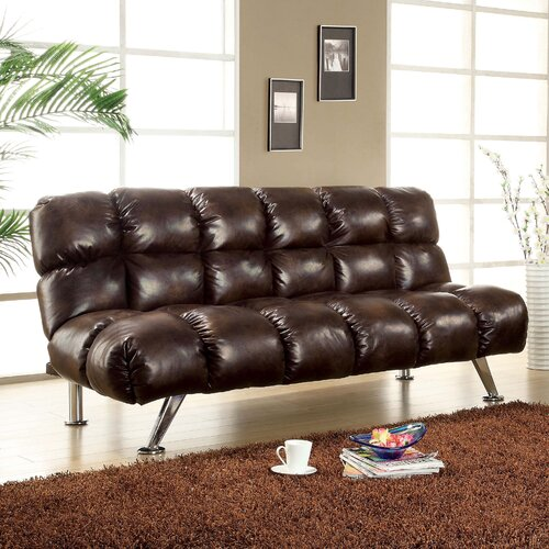 Hokku Designs Deliz Leather Vinyl Convertible Convertible Sofa