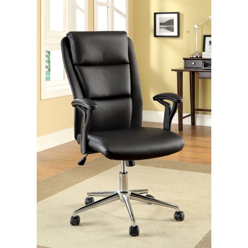 Ravi High-Back Leatherette Office Chair with Arms