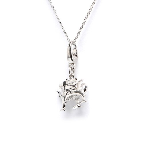 EZ Charms Sterling Silver Winged Dragon Charm