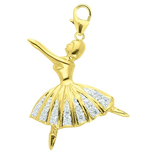 EZ Charms 14K Yellow Gold Diamond Ballerina Charm