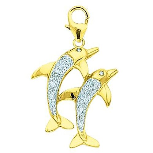 EZ Charms 14K Yellow Gold Diamond Double Dolphin Charm