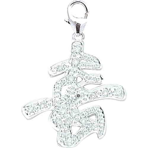 EZ Charms 14K White Gold Diamond Chinese-Long Life Charm