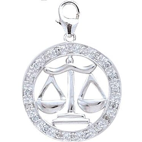 EZ Charms 14K White Gold Diamond Zodiac - Libra Charm