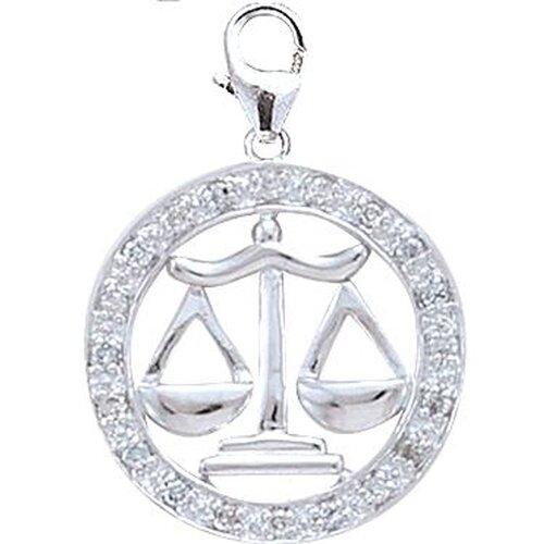 EZ Charms 14K White Gold Diamond Zodiac - Libra Charm