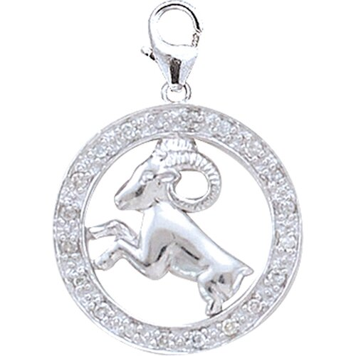 EZ Charms 14K White Gold Diamond Zodiac - Aries Charm