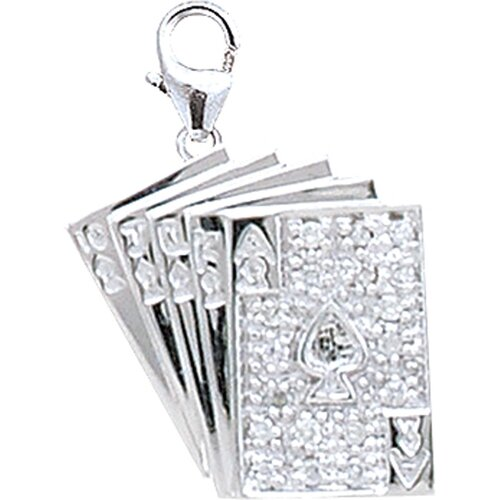 EZ Charms 14K White Gold Diamond Playing Cards Charm