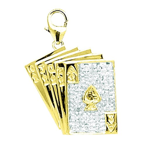 EZ Charms 14K Yellow Gold Diamond Playing Cards Charm