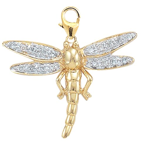 14K Yellow Gold Diamond Dragonfly Charm