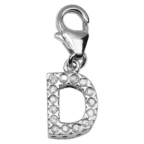 EZ Charms 14K White Gold Diamond Initial D Charm