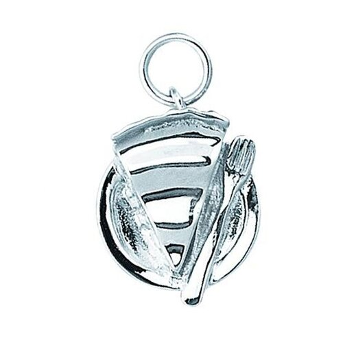 EZ Charms Sterling Silver Slice of Pie on A Plate Charm