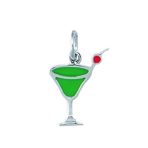 EZ Charms Sterling Silver Enamel Apple Martini Charm