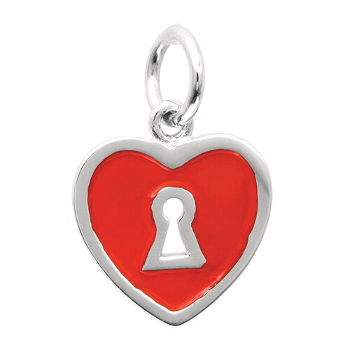 EZ Charms Sterling Silver Keyhole and Heart with Red Enamel Charm