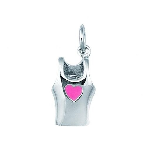 Sterling Silver Ladies Sports Top with Pink Enamel Heart Charm