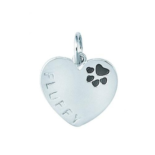 EZ Charms Sterling Silver Heart with Enamel Paw Print and Fluffy Name Dog Charm