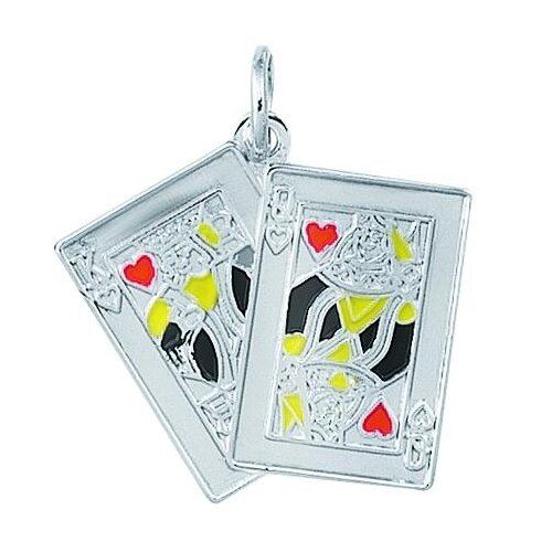 EZ Charms Sterling Silver Enameled King and Queen of Hearts Card Charm
