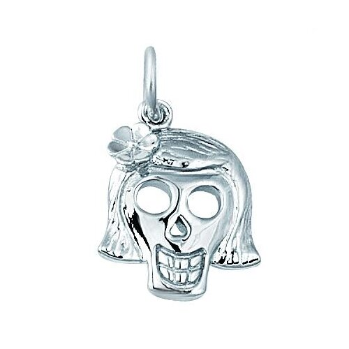 EZ Charms Sterling Silver Girl Skull Charm