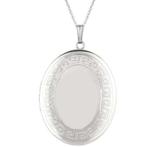 EZ Charms Oval Shaped Locket with Greek Key Border in Sliver