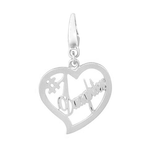 """EZ Charms Sterling Silver """"#1 Daughter"""" in Heart Charm"""