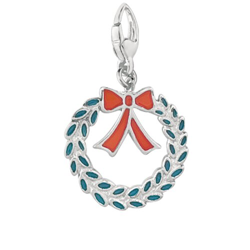 EZ Charms Sterling Silver Enamel Christmas Wreath Charm