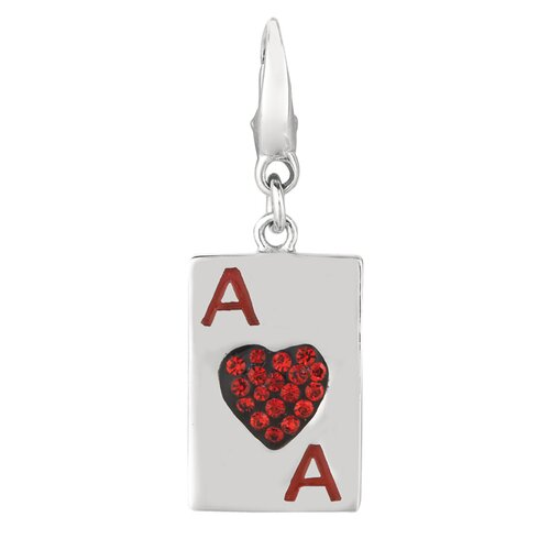 EZ Charms Crystal Ace of Hearts Charm with Swarovski Elements