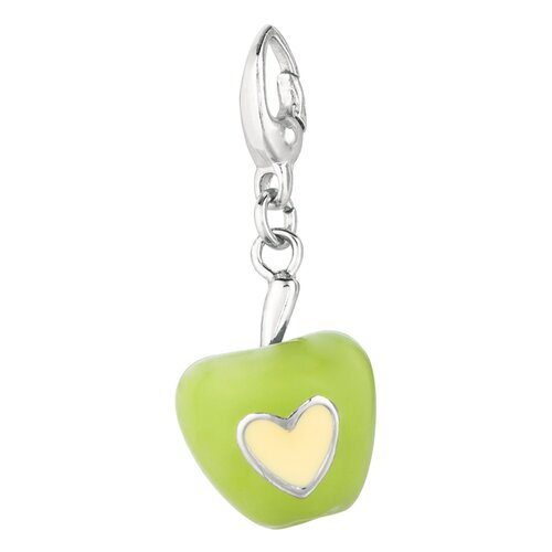 EZ Charms Sterling Silver Green Apple Charm