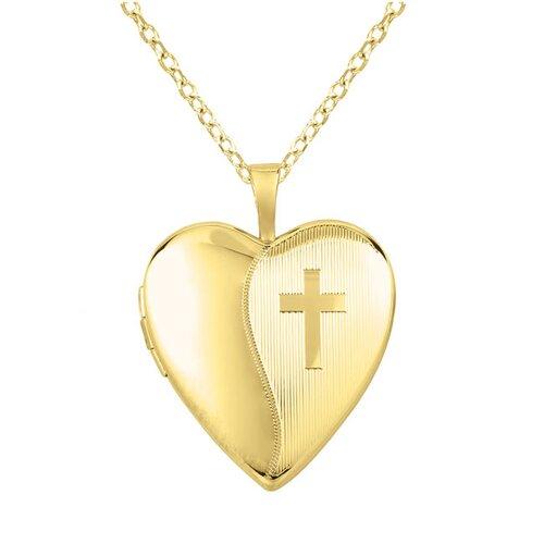 EZ Charms Cross Heart-Shaped Locket Necklace
