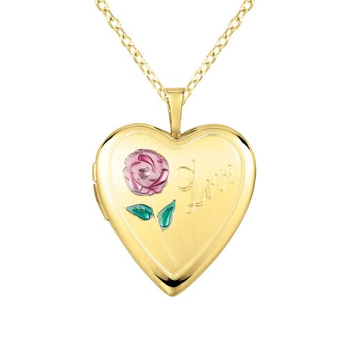 "EZ Charms Heart Shaped Locket with Rose ""Love"" Necklace"