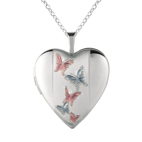 EZ Charms Heart-Shaped Butterfly Locket Necklace