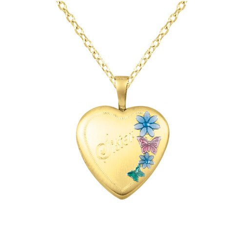 "EZ Charms ""Sister"" Flowers Heart-Shaped Locket Necklace"