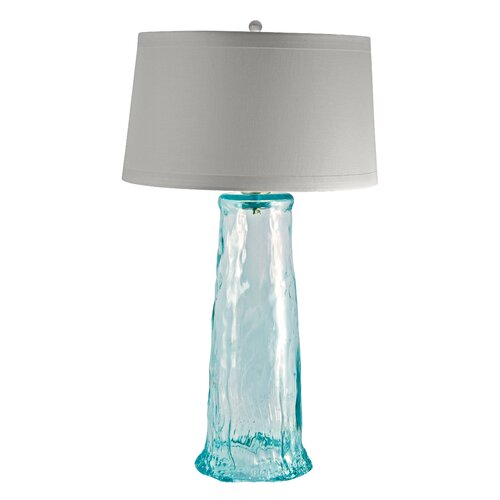 Lamp works recycled glass wave 28 h table lamp with drum for Waterfall lamp shade