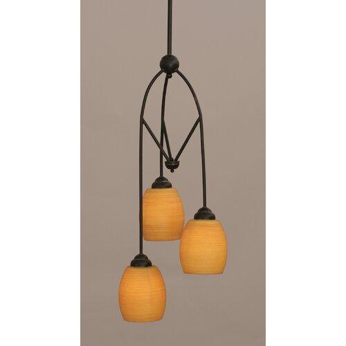 Toltec Lighting Contempo 3 Light Multi Mini Pendant With Hang Straight Swivel