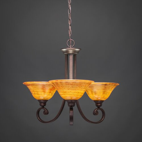 Toltec Lighting Curl 3 Up Light Chandelier with Glass Shade