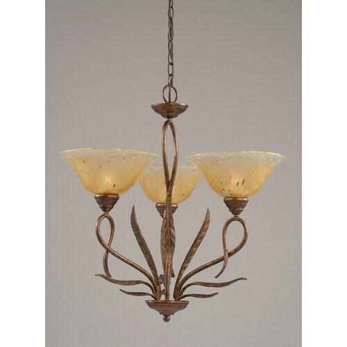 Toltec Lighting Leaf 3 Light  Chandelier with Crystal Glass Shade