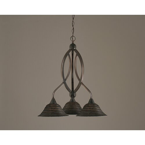 Toltec Lighting Bow 3 Light  Chandelier with Spiral Glass Shade