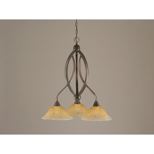 Toltec Lighting Bow 3 Light  Chandelier with Crystal Glass Shade