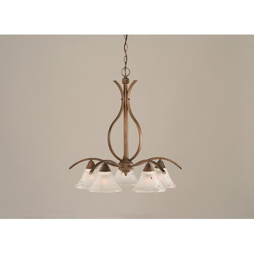 Toltec Lighting Swoop 5 Light  Chandelier with Crystal Glass Shade