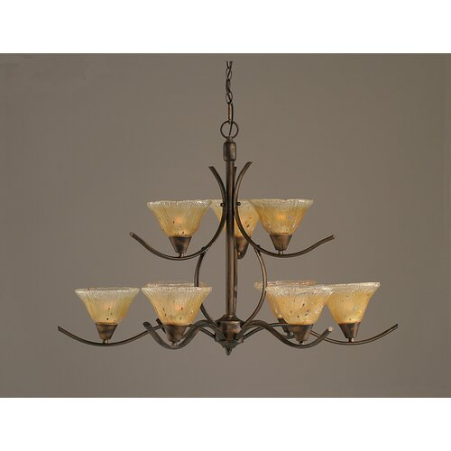 Swoop 9 Up Light Chandelier with Crystal Glass Shade