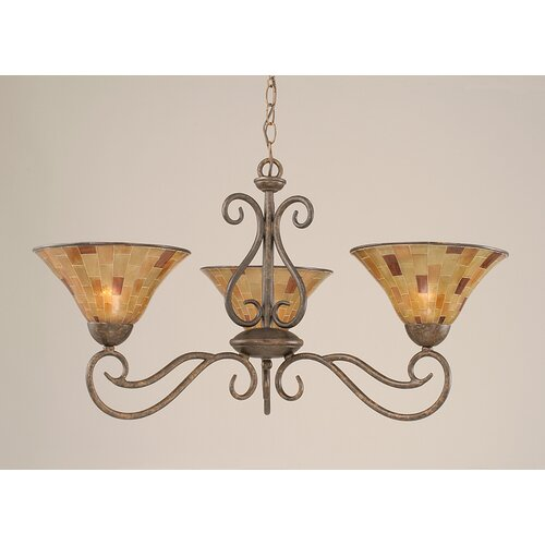 Olde Iron 3 Light Chandelier with Pen Shell Shade