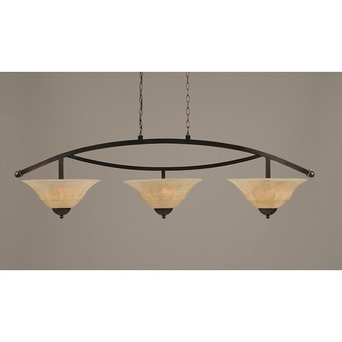 Toltec Lighting Bow 3 Light Uplight Kitchen Island Pendant
